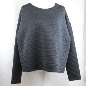 H&M Quilted Black Cropped Super Soft Sweater